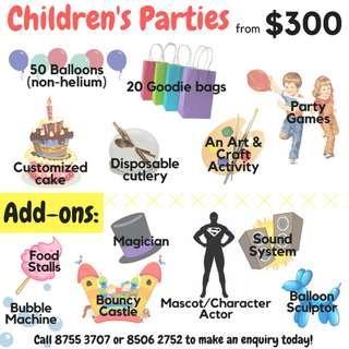 Party Packages for all ages & Customized Candy Bar!