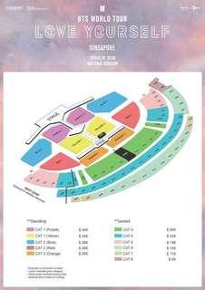 BTS Love Yourself Singapore Cat 2 Red 1 Ticket
