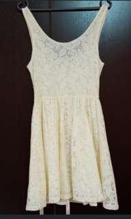 White lace skater dress