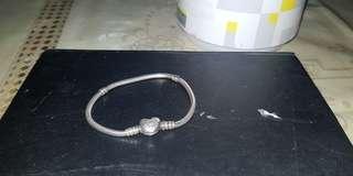 Pandora silver bracelet heart clasp