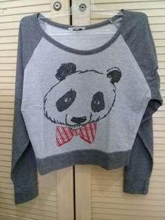 Switer Abu-abu Gambar Panda