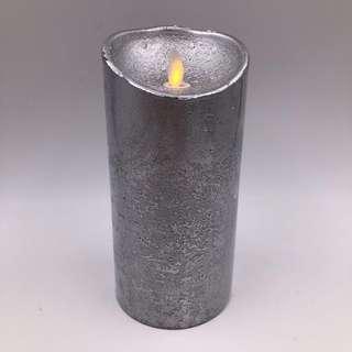 Flameless Glitter Amber LED Candles Pillar - Silver