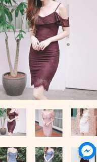 Lace Dress in Maroon