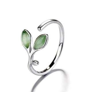 Green Leaf Cat Eyes Opal Stone Ring