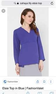 Cahaya Lily Elsie top in Blue