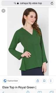 Cahaya Lily Elsie top in Green