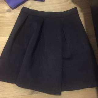 Scuba Skirt Topshop Navy Blue Black
