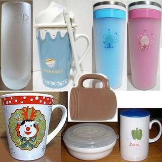 磨砂玻璃杯水杯、冰淇淋造型杯、誠品還原燒質樸馬克杯湯杯麥片杯、聖誕咖啡杯陶瓷杯、附蓋微波保鮮碗杯組、雙層隨行杯保溫杯