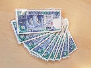 10pcs R/N Singapore $1 1987 ship series