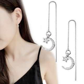 Diamond Moon & Star Threader Earrings