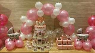 Baptismal Party Package: Cake, Giveaway Cupcakes, Balloons