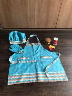 Wooden Food Play with Apron & Hat