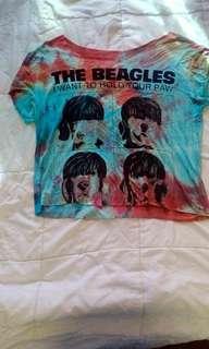 Rainbow tie dye beagles crop s-m