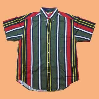 JCI:Vintage Tommy Hilfiger 紅綠 條紋短袖襯衫 古著 / Polo Sport / 90s