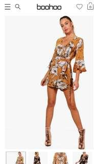 Floral Wrap & Ruffle Sleeve Playsuit