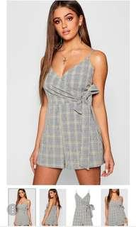 Check Wrap Over Skort Playsuit