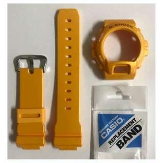 CASIO Original G-shock Band DW-6900SB-9 Yellow Strap & Yellow Bezel ..
