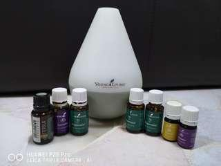 Young Living dewdrop diffuser + essential oils