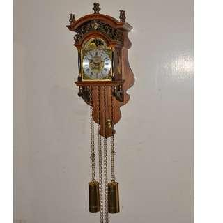 ANTIQUE VINTAGE DUTCH WUBA MECHANICAL WEIGHTS DRIVEN PENDULUM WALL CLOCK
