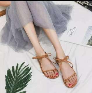 降#全新韓版 蝴蝶結綁帶羅馬涼鞋 (棕)