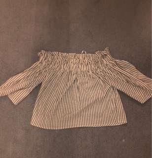 Off shoulder stripe top