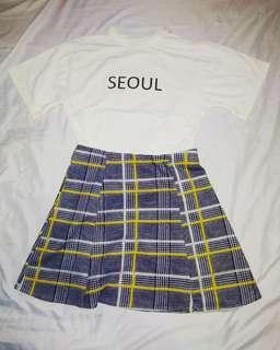 Plaided skirt w/ free SEOUL inner shirt