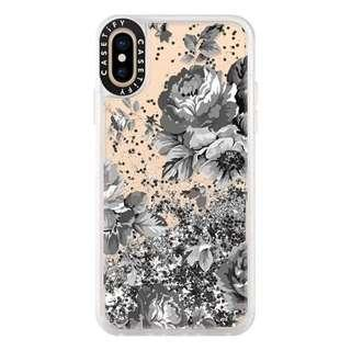 •BN• Casetify Glitter Case iPhone X/XS 5.8 SilverBlackFloral