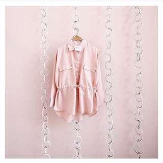 Dusty pink pocket top atasan parka dusty pink murah