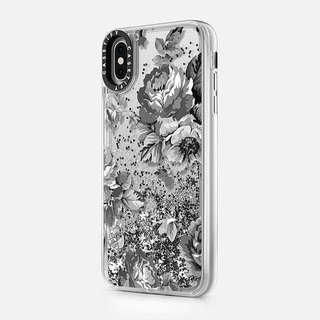 •BN• Casetify Glitter Case iP XS Max 6.5 SilverBlackFloral