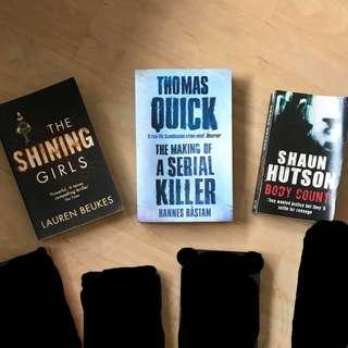 Assorted crime thrillers - The Shining Girls, Thomas Quick Making of a Serial Killer, Body Count