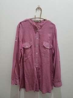 ZARA Basic Pink Long Sleeves Polo Top - Size L