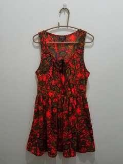 TOPSHOP Orange Printed Sleeveless Dress - EUR 40 US 8 UK 12