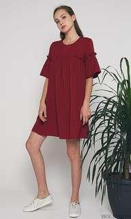 🚚 Hollyhoque Mini Ruche Dress in Wine