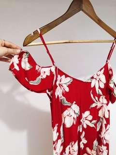 Red/floral strappy dress