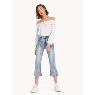 Pomelo Janessa Cropped Flared Jeans