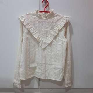 UK10 Miss selfridge Vintage cream blouse