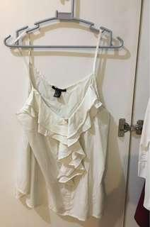 White Top with Ruffled Front