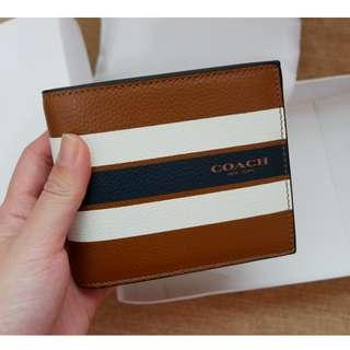 [Ready Stock] Coach Compact ID Wallet in Varsity Calf Leather (F75086) in Saddle