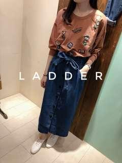 🚚 轉賣LADDER 綁帶牛仔裙+史奴比上衣