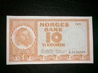 1971年挪威10克朗郎輪船圖案10元數字水印全新直版