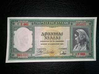 1939年希臘1000德拉馬克圖案精美全新直版