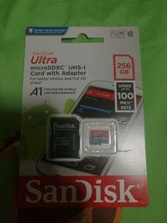 Brand new sealed sandisk microsd microsdxc 256gb memory storage not kingston