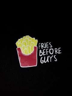 Fries Before Guys Black Crop Top