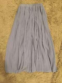 厚雪紡果綠百褶長裙