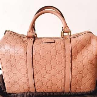 原價42000 全新GUCCI壓紋牛皮粉色波士頓包