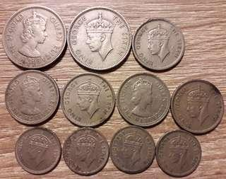 11pcs total lot of old MALAYA coins