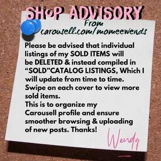 SOLD ITEMS CATALOG LISTINGS