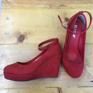 PRELOVE : Kiss & Tell Red Wedges Shoes (SIZE 37)