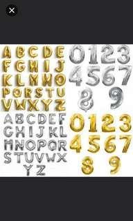 Numbers balloons. Alphabets balloon. Foil balloons