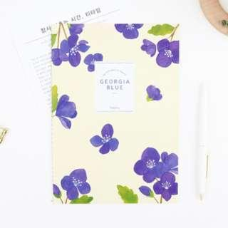 PO Georgia Blue / Mimosa / Palm Leaf Floral Pattern Flower Graphic Colour Theme Note Book Notebooks A5